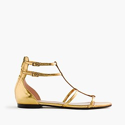 Skinny-strap gladiator sandals in crackled metallic leather