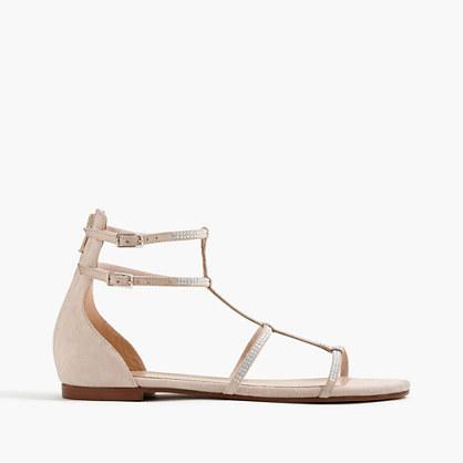 Embellished skinny-strap suede gladiator sandals