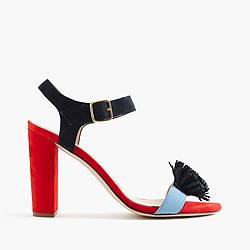 Colorblock sandals with pom-poms
