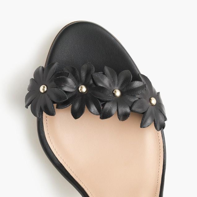 Leather flower high-heel ankle-strap sandals