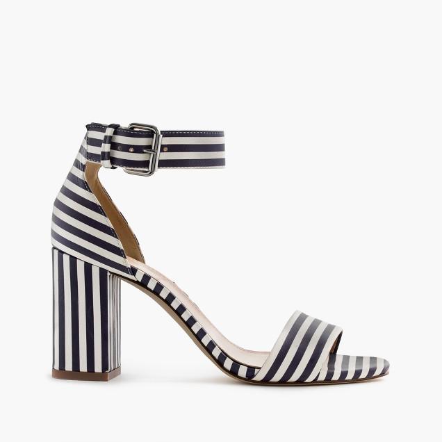 Striped strappy high-heel sandals