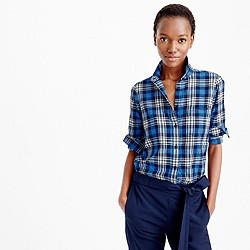 Boy shirt in navy weekend plaid