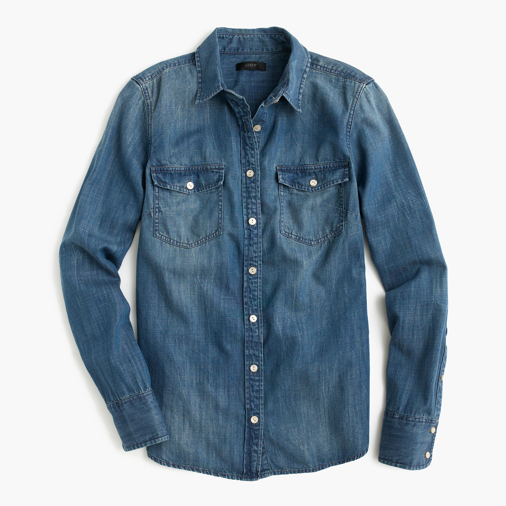Western chambray shirt women 39 s shirts j crew for Chambray shirt women