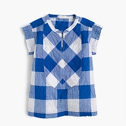 Girls' large gingham top