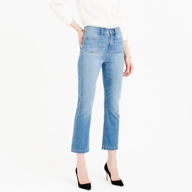 Billie patch-pocket demi-boot crop jean in Torrey wash
