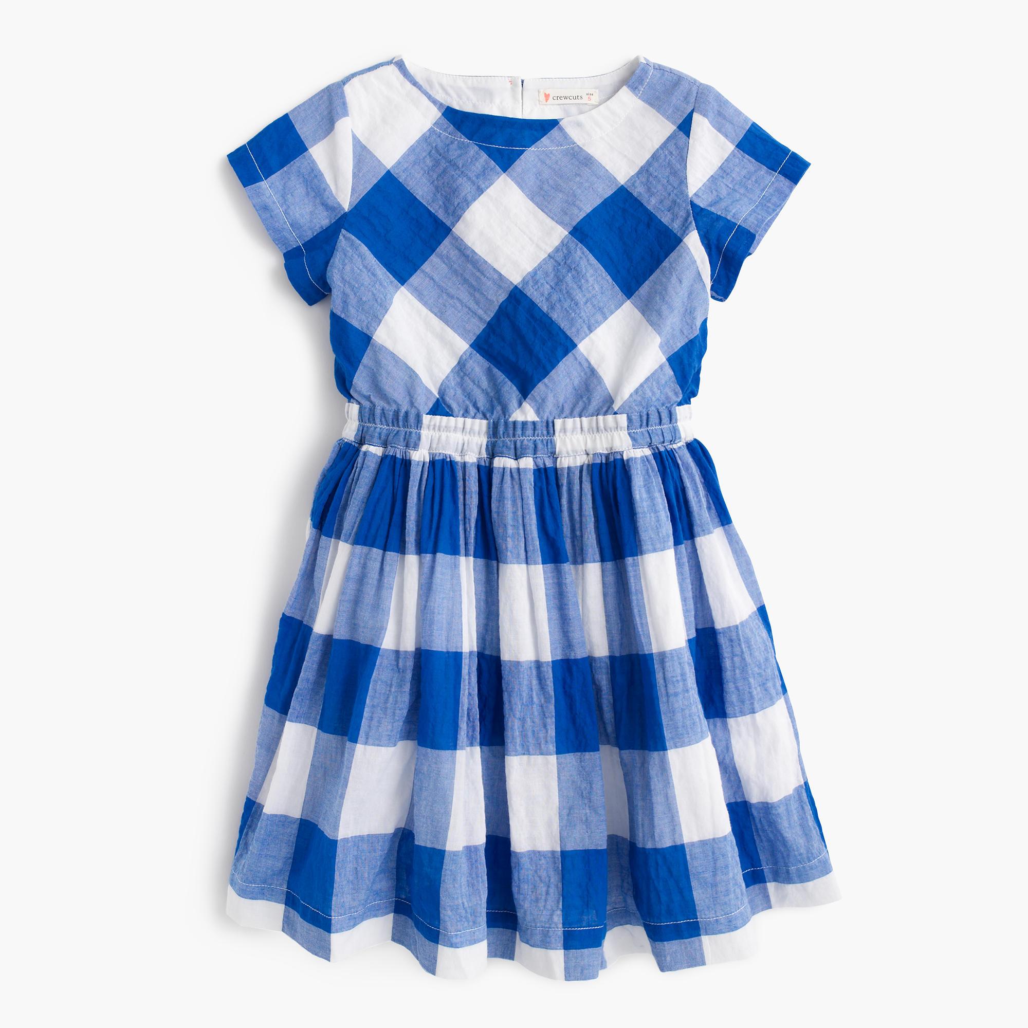 Girls' dress in large gingham : Girl dresses   J.Crew