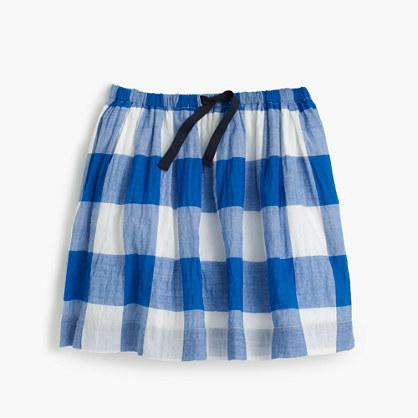 Girls' large gingham pull-on skirt