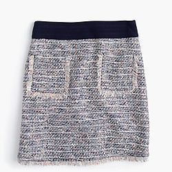 Petite multicolored tweed skirt