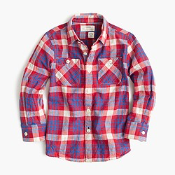 Boys' camp shirt in plaid