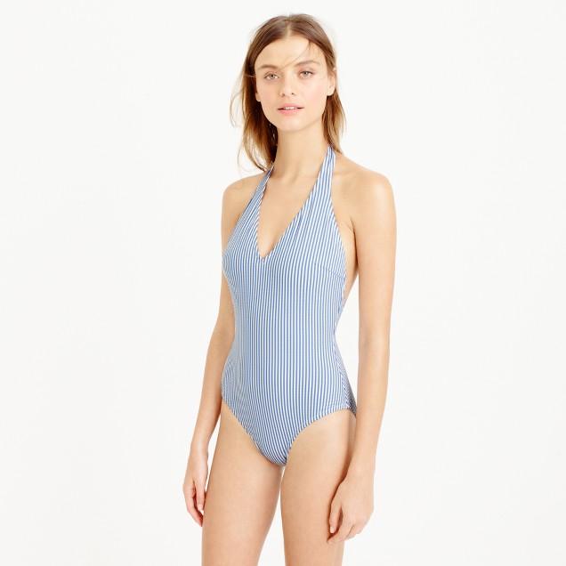 Long-torso deep V-halter one-piece swimsuit in seersucker