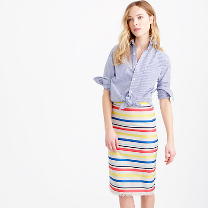 Colorful jacquard striped skirt