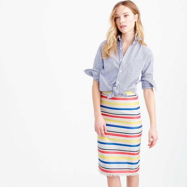 Petite colorful jacquard striped skirt