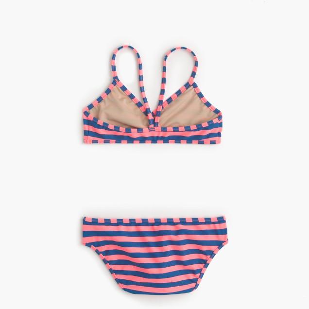 Girls' crossover bikini set in neon bright stripe
