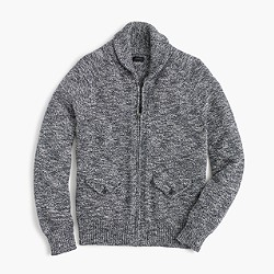 Marled cotton full-zip sweater