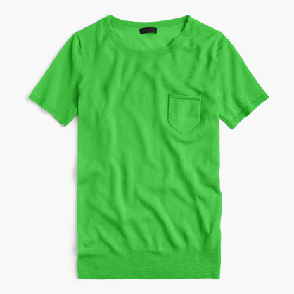 Italian featherweight cashmere short-sleeve pocket T-shirt