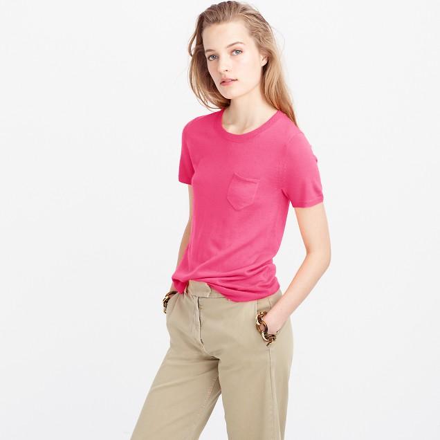 Italian featherweight cashmere short-sleeve pocket T-shirt