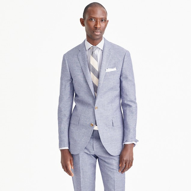 Ludlow suit jacket in houndstooth Italian linen-wool