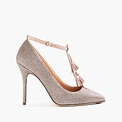 Roxie glitter pumps with suede tassel