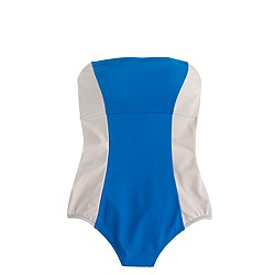 Long torso colorblock bandeau one-piece swimsuit