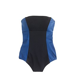 Long torso colorblock bandeau one-piece swimsuit