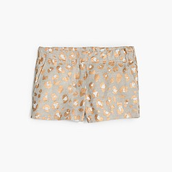 Girls' Frankie short in glitter leopard