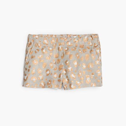 Girls' Frankie short in glitter leopard