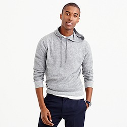 Italian cashmere hoodie in heather flannel