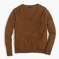 Italian cashmere pocket V-neck sweater