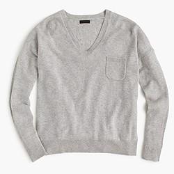 Italian cashmere pocket V-neck sweater