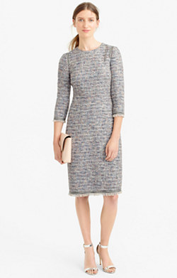 Long-sleeve multicolored tweed dress with fringe