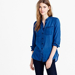 Tall collarless button-up shirt in indigo