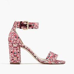 Glitter mosaic strappy high-heel sandals
