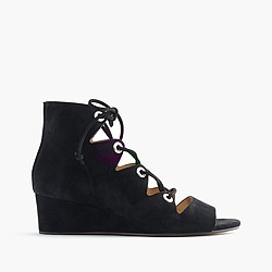 Laila lace-up wedges in suede