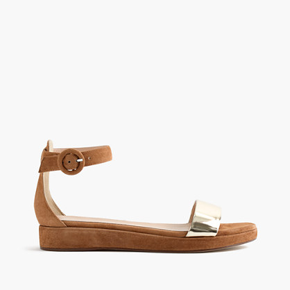Metallic suede flatform sandals