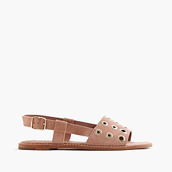 Suede slingback sandals with grommets