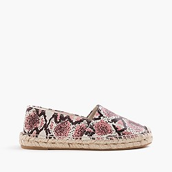 Printed snakeskin leather espadrilles
