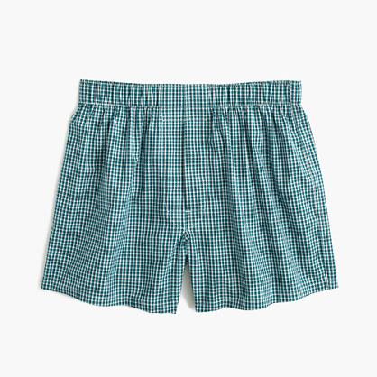 Deep aqua check boxers