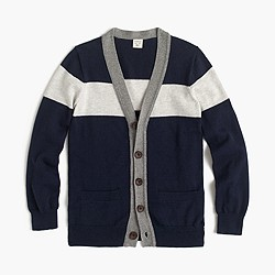 Boys' colorblock cotton-cashmere cardigan sweater