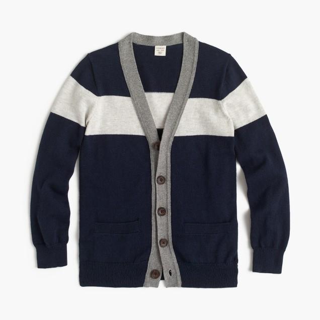 Boys' colorblock cotton-cashmere cardigan sweater