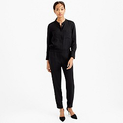 Petite drapey oxford crepe long-sleeve jumpsuit
