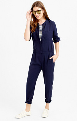 Drapey oxford crepe long-sleeve jumpsuit
