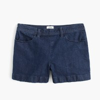 Side-zip denim short