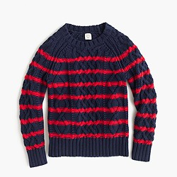 Boys' striped cable sweater in cotton