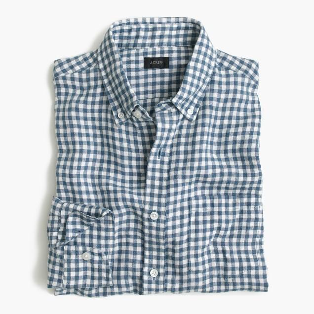 Slim Irish linen shirt in délavé Antrim gingham