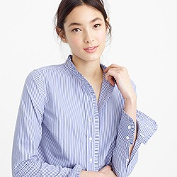 Petite ruffled button-up shirt in stripe