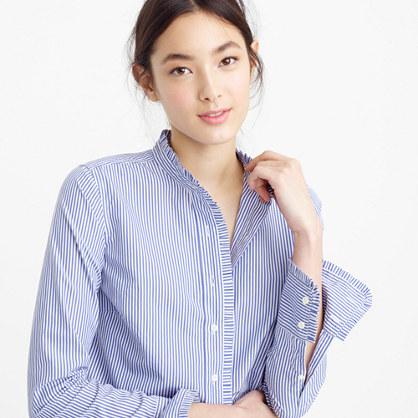 Petite ruffled button-up shirt in stripe