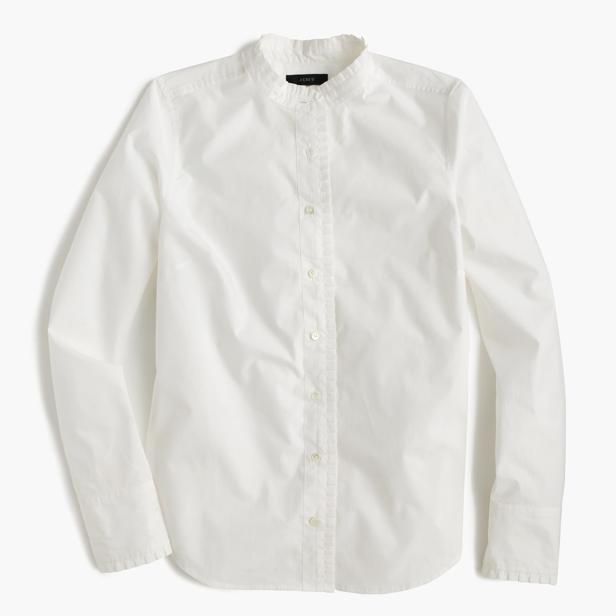 Ruffled Button-Up Shirt In White : Women's Shirts | J.Crew