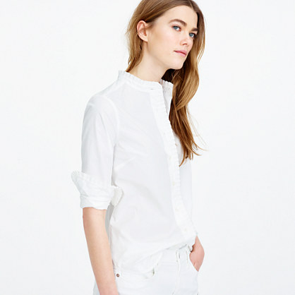 Tall ruffled button-up shirt in white