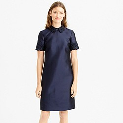 Collection silk-wool dress with embellished lace trim