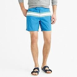 "6.5"" tab swim short in blue stripe"